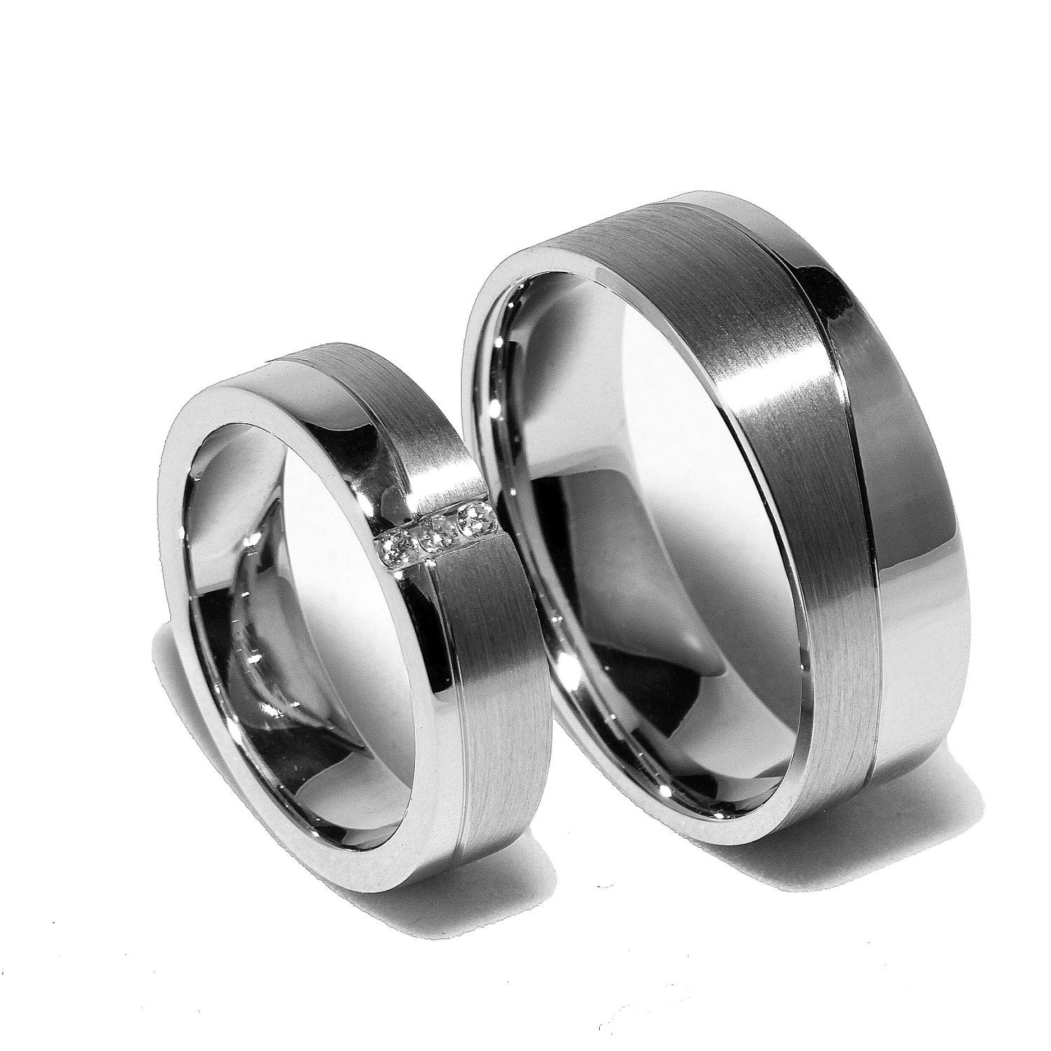 Two Matching Sterling Silver Wedding Bands Promise Rings for Him And Her With