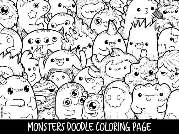 Monsters Doodle Coloring Page Printable Cute/Kawaii