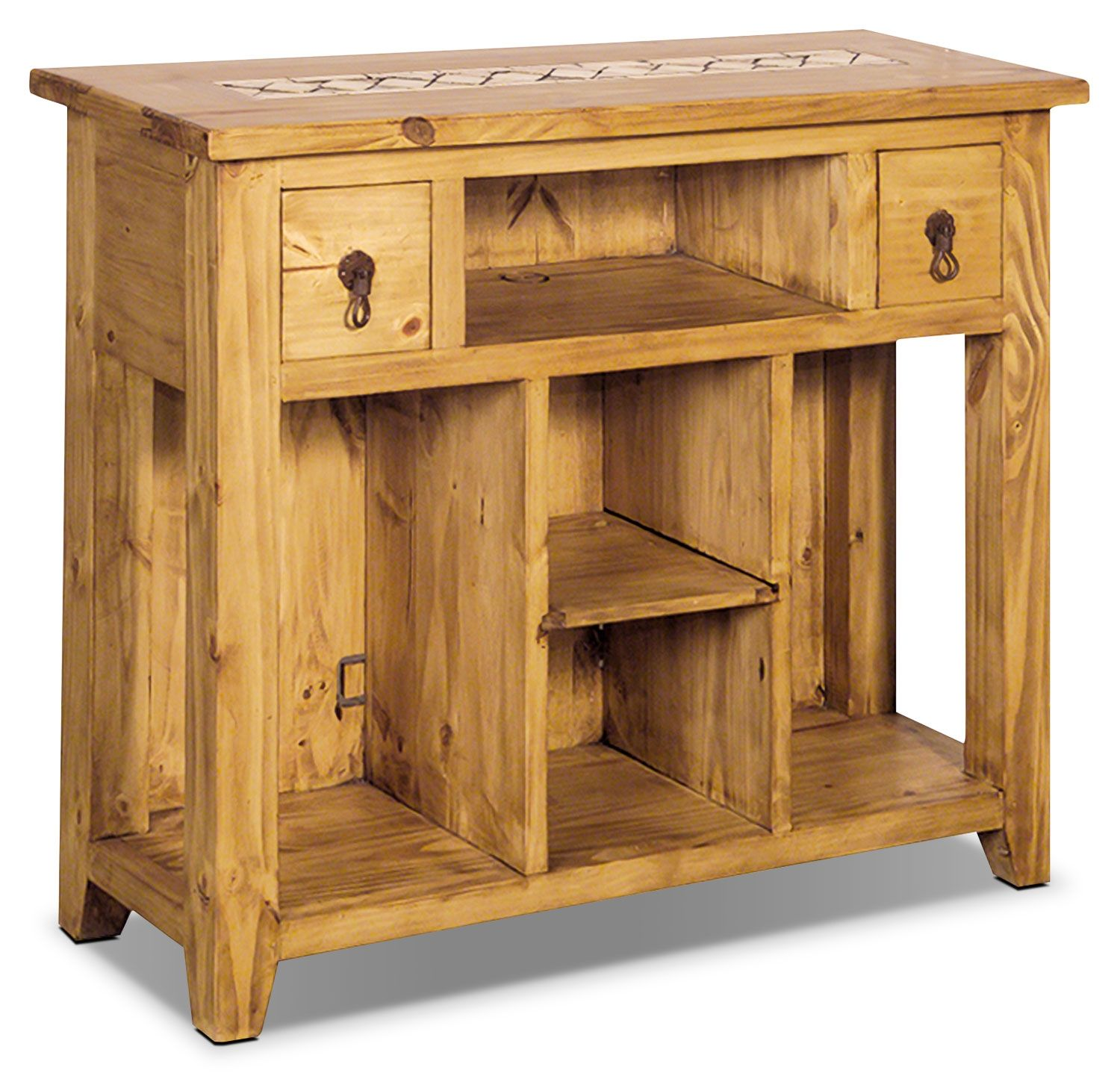 Santa Fe Rusticos Solid Pine Sofa Table With Marble Inset The Brick