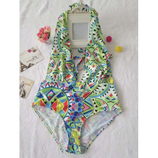 Alluring Women's Plunging Neckline Geometry Print One-Piece Swimwear — 11.52 € Size: S Color: COLORMIX