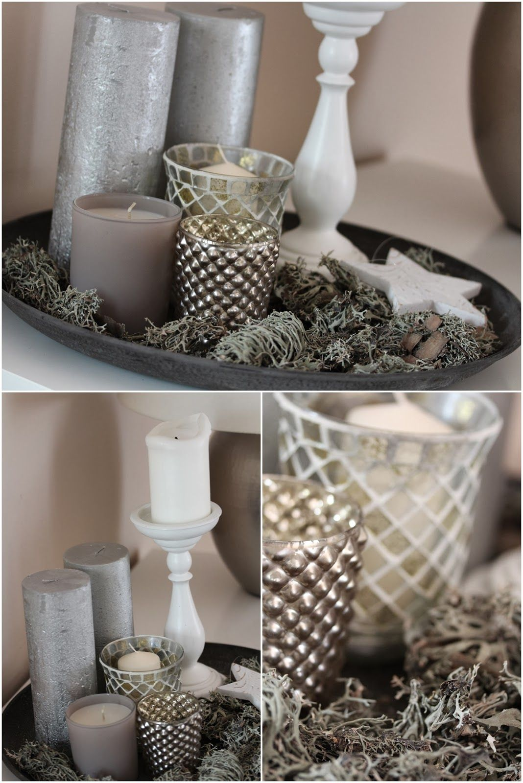 After christmas dekoration kerzen candle white silver for Kerzen dekoration