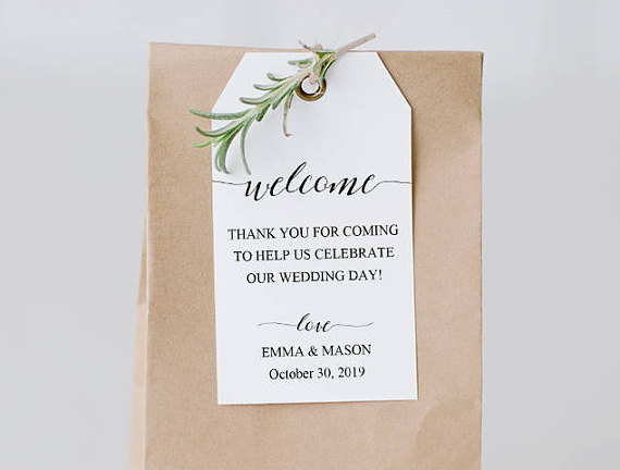 Welcome Tag Template, Wedding Welcome Bag Tag, Wedding Welcome - bag tag template