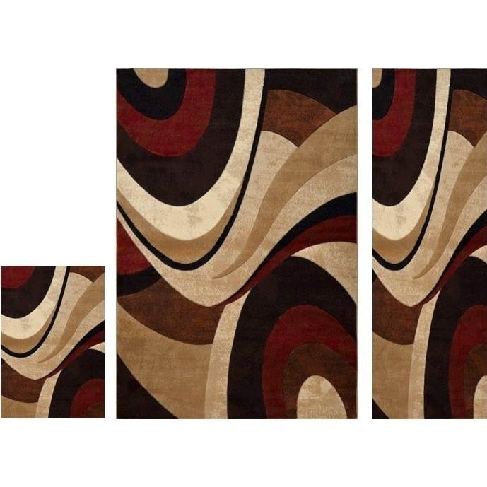 Home Dynamix Tribeca Collection Brown Red 3 Piece Area Rug Set (5u0027