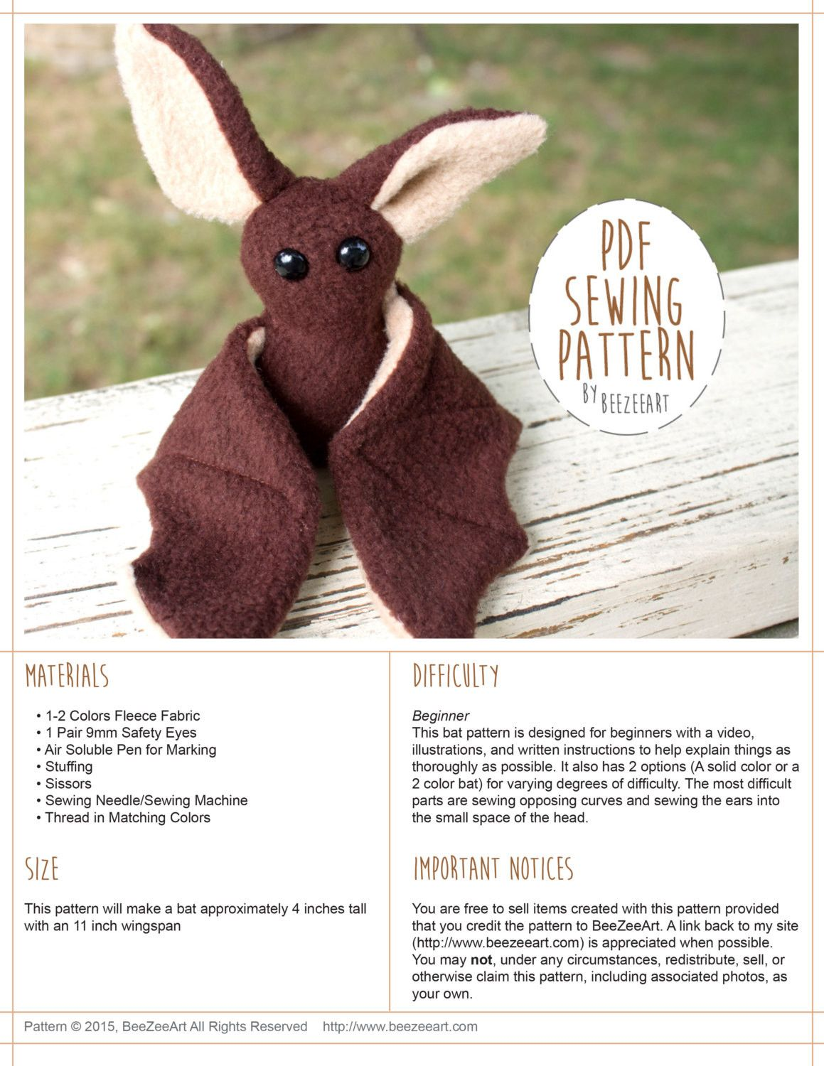 Beginner Bat Stuffed Animal Sewing Pattern - Digital Download | Filz ...
