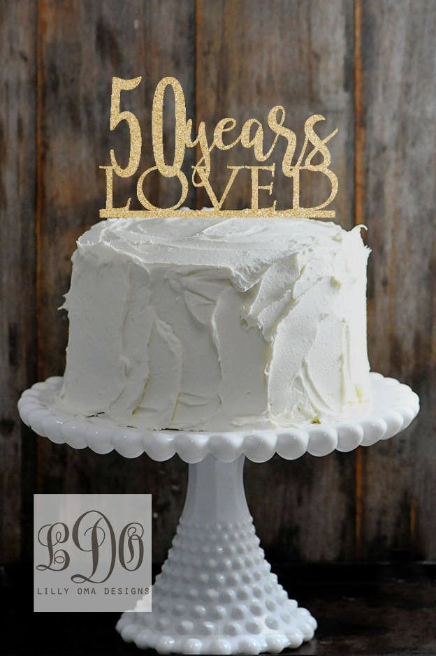 Glitter 50th Anniversary Wedding Cake Topper Available In Gold