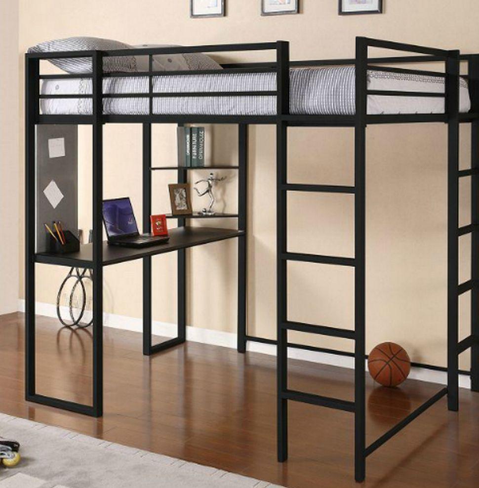 full metal loft bed workstation desk bunk bed desk preteen black spacesaver new room. Black Bedroom Furniture Sets. Home Design Ideas