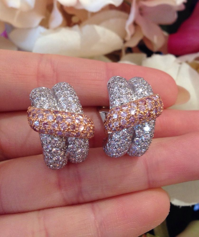 · Estate 7 cts Pave Diamond Half Hoop Earrings in 18K white & rose ...
