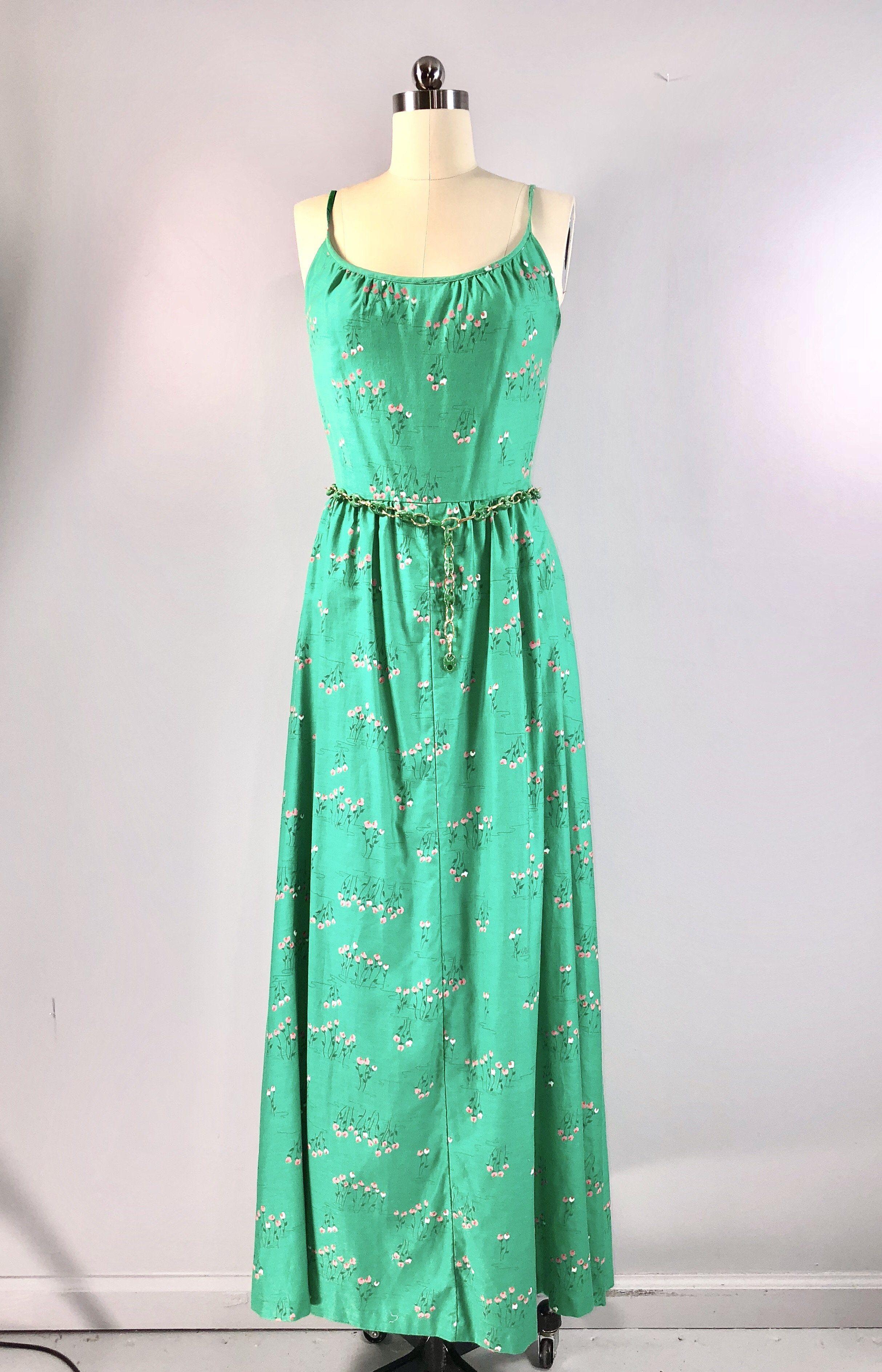 Malia hawaiian maxi dress vintage s s green cotton sundress