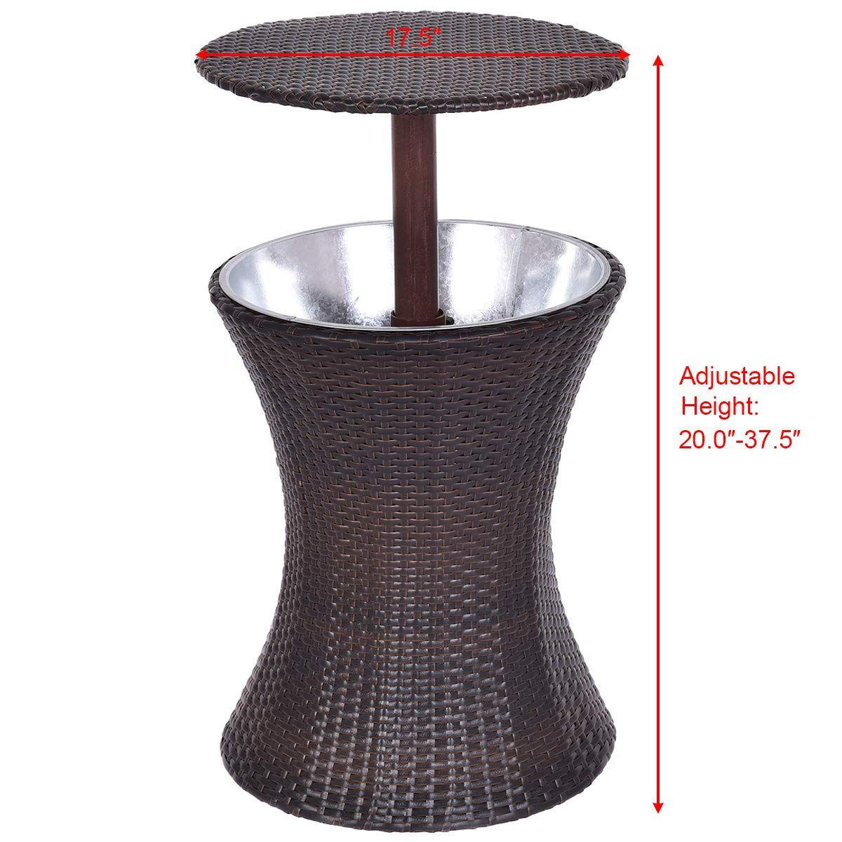giantex outdoor cool bar rattan style patio cool bar table rh pinterest com