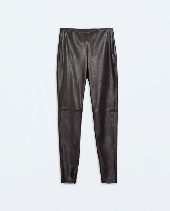 e7f855f1 ZARA - WOMAN - FAUX LEATHER LEGGINGS WITH SEAM AT THE KNEE | Fashion ...