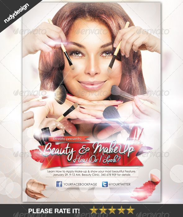 Beauty Make-Up Cosmetic Flyer Design Cosmetics, Print templates - hair salon flyer template