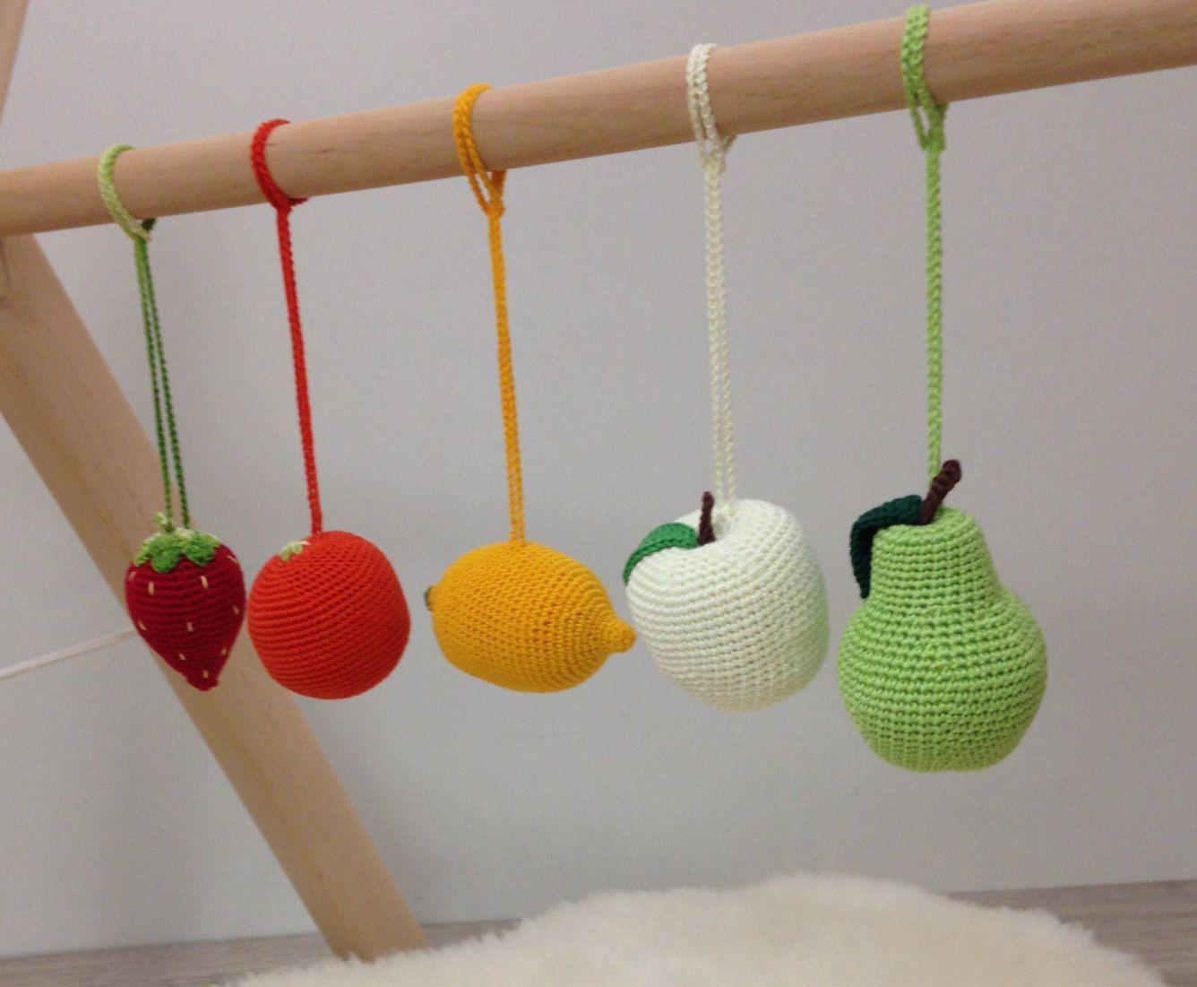 Baby rattles Set of 5 fruits, hanging toys, baby gym toys, car seat ...