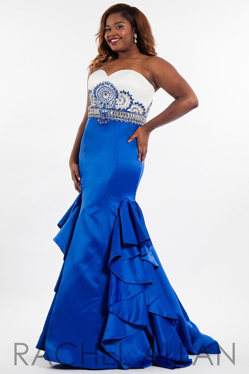 Rachel allan plus white royal sweetheart mermaid prom dress