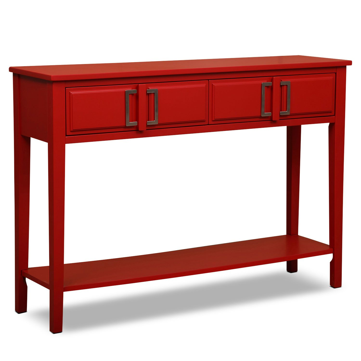 Clean Transition The Watkins Red Console Table Has Clean Lines