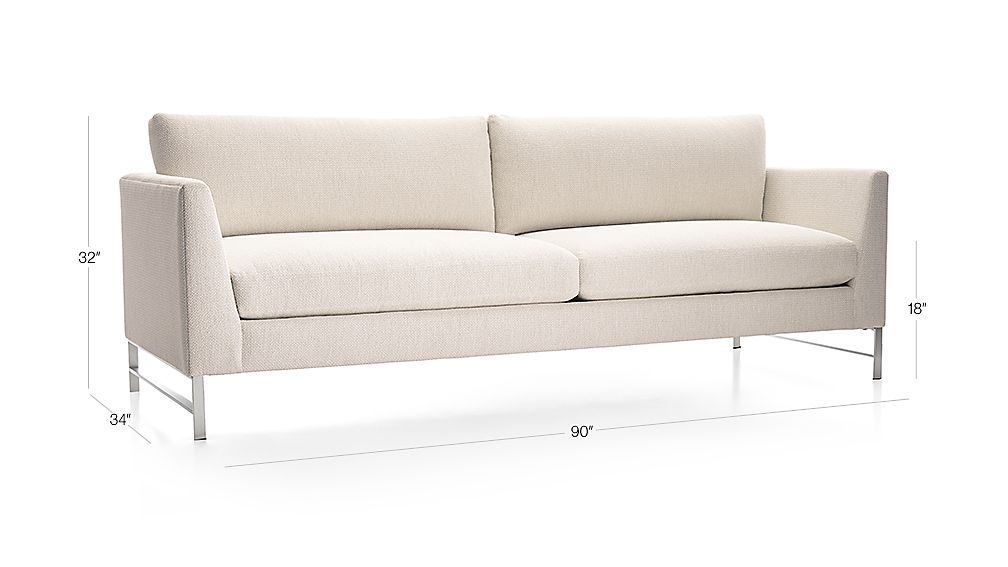 genesis sofa with brushed stainless steel base crate and
