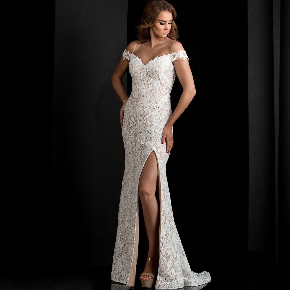 Ivory lace prom dresses