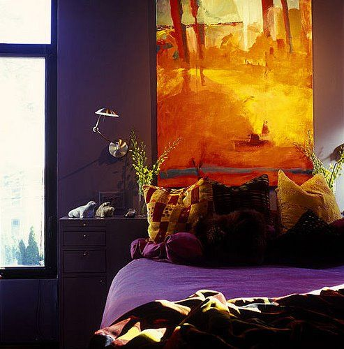 purple and orange bedroom...only reversed colours (Orange wall & purple  accent
