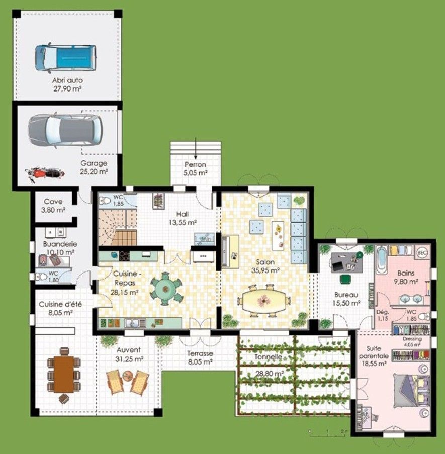 Plan maison avec suite parentale plans pinterest for Plan maison plain pied suite parentale