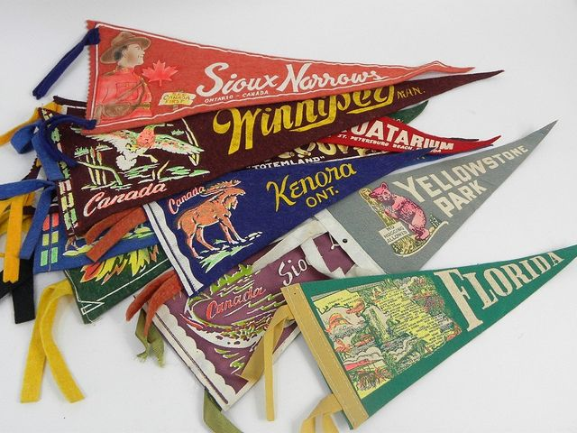 Vintage Travel Souvenir Felt Pennants by Chris Ferebee