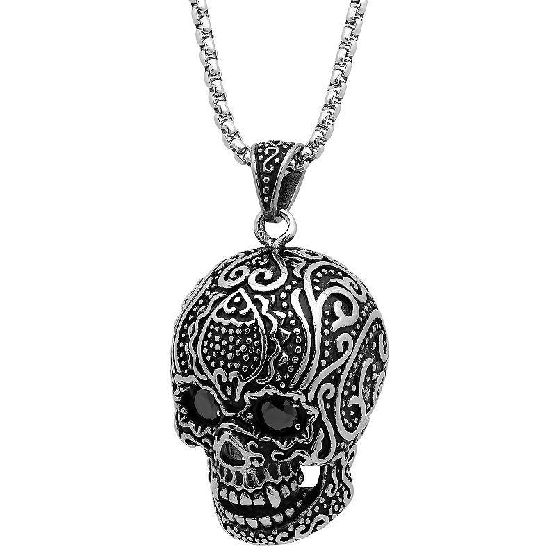 de42990d0b0f5 Steeltime Mens Black Cubic Zirconia Stainless Steel Pendant Necklace ...