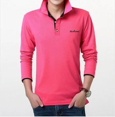 cotton mens long sleeve POLO shirts Large size S M 4XL 5XL Blue ...