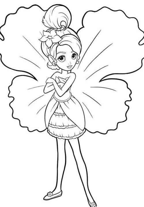 Barbie Thumbelina Coloring Pages Of Both Hands Bend ...