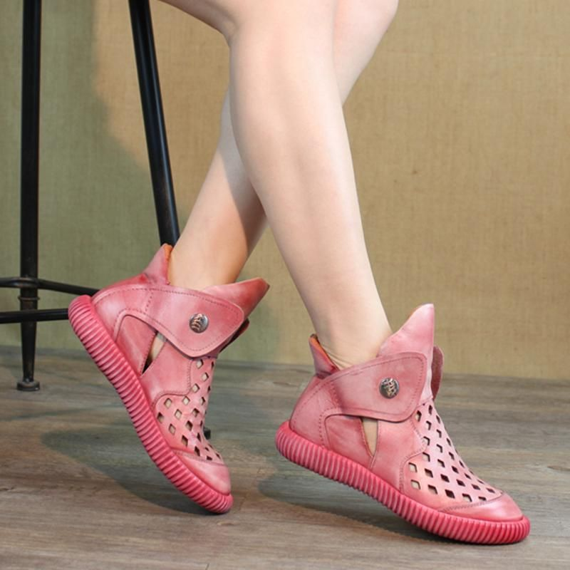 Women Hollow Out Sewing Flat Casual Sandals Boots #women#39;scasualstyle