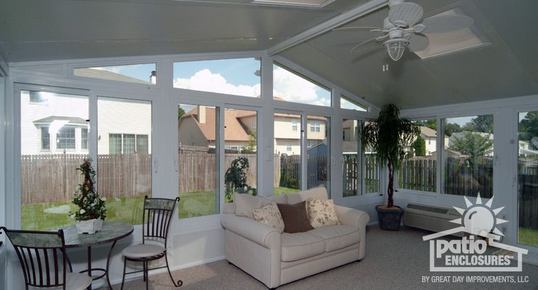 White Vinyl Frame All Season Room with Gable Roof and