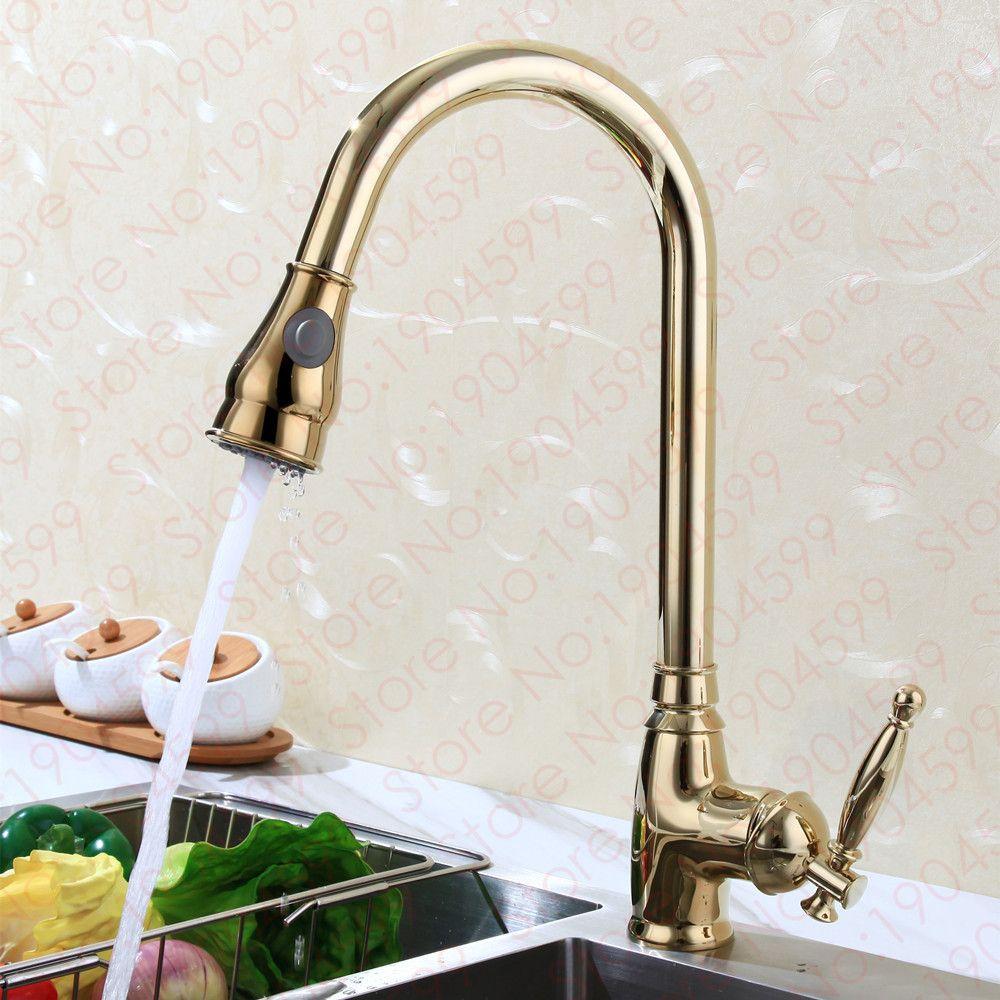 2017 Wholesale New Exclusive Patent Design Solid Brass Luxurious Golden Sink  Mixer Gooseneck Taps Gold Pull · Kitchen FixturesKitchen FaucetsPull Out ...