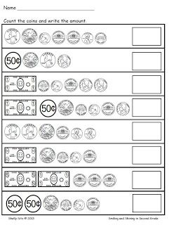 Smiling And Shining In Second Grade Counting Money Money Math Free Math Worksheets Counting Money