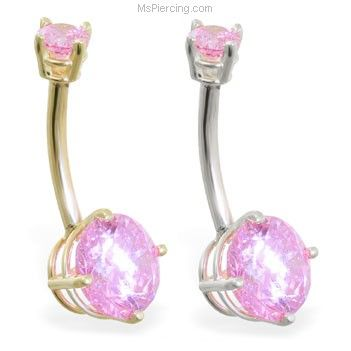 14K Yellow Gold Pink CZ 14K Gold Double Jeweled Belly Ring