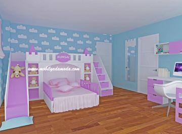 Camerette alondra ~ Kumsalın odası Şatolu kaydıraklı ranza kids by mobilyada moda