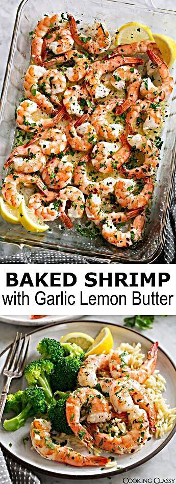 Baked Shrimp with a simple Garlic Lemon Butter Sauce - this recipe couldn't