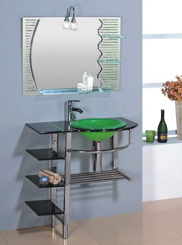 pedestal sink or vanity in small bathroom%0A Kokols Clear Vessel Sink Pedestal  shelf Bathroom Vanity