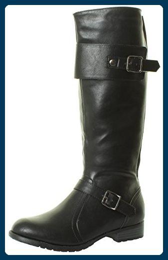 HT5 Damen Kniehöhe Flach Biker Boots Stiefel Knielang