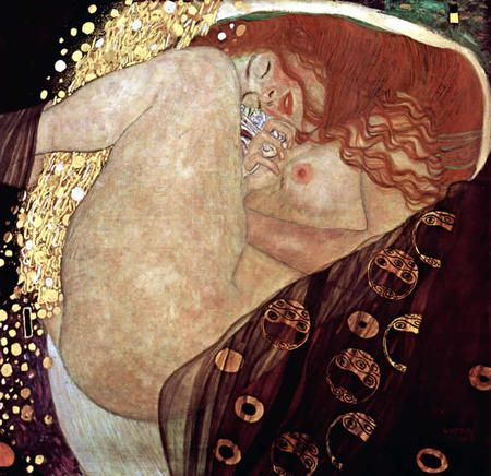 Danae painted by Klimt. An awesome image of Zeus transformed in glod and slipping into one woman's bedroom to sleep with her. Sensual and beautiful.