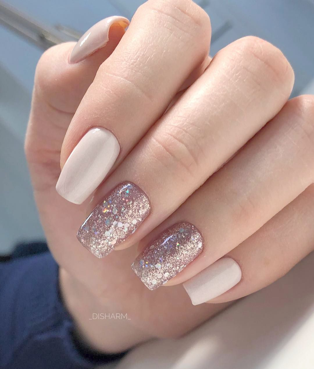Home Blend Of Bites Fake Nails Neutral Nails Manicure