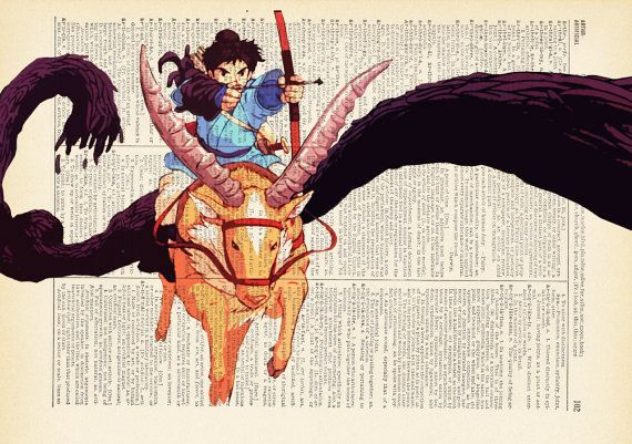 Ashitaka and Yakul Demon Fighters Print on an by AvantPrint,
