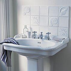 Tile Backsplash Behind Bathroom Sink Pedestal Patterned Bathroom