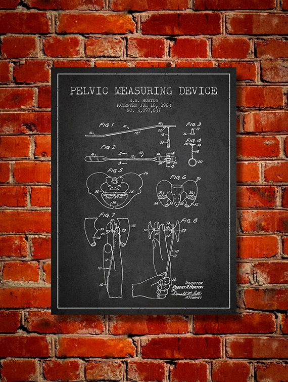 1963 Pelvic measuring device patent Canvas Art by PatentsWallArt