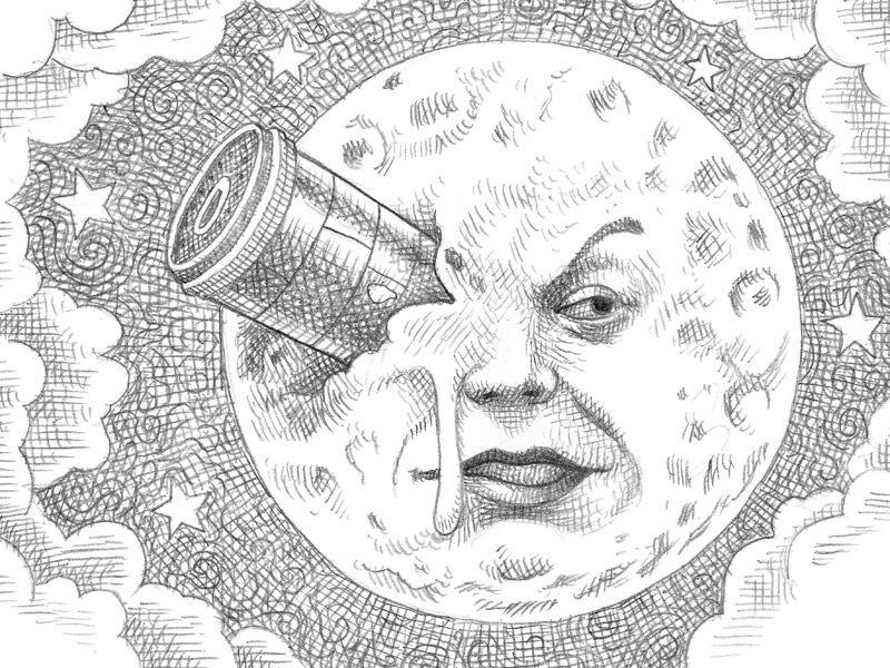 Elbaul Que No Tenia Mi Abuela La Invencion De Hugo Cabret Illustrations Contemporaines Illustrations Et Affiches Art A Theme Lune