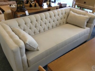 Tufted 3 Seat Sofa - Beige and neutral, simple and elegant design .  Perfect condition. –  was a floor model and has never been used.  Originally retailed for $2200.00.  Top quality fabric and hardwood frame.  Canadian made.   Item. 21006-36.  Price $1000.00   - http://takeitorleaveit.co/2013/08/22/tufted-3-seat-sofa/