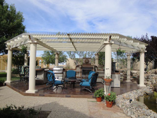 Pergola Outdoor Kitchen With Adjustable Patio Cover Opens And