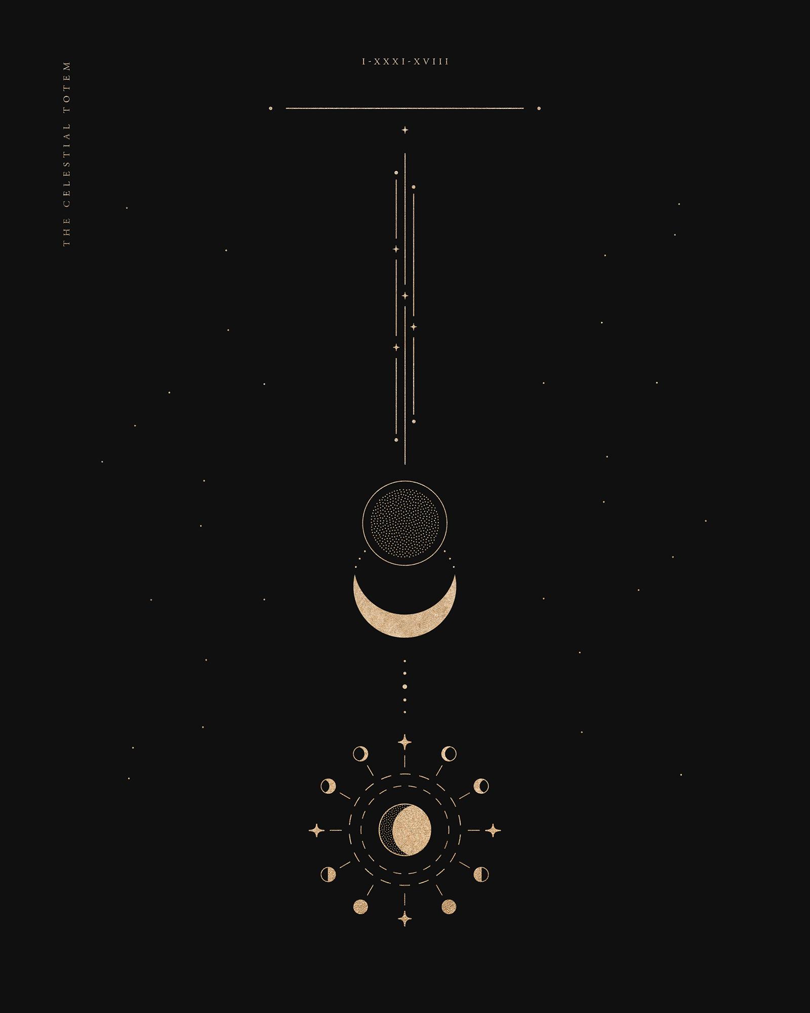 The Celestial Totem Line Art By Mel Volkman Beautiful Moon Cosmos