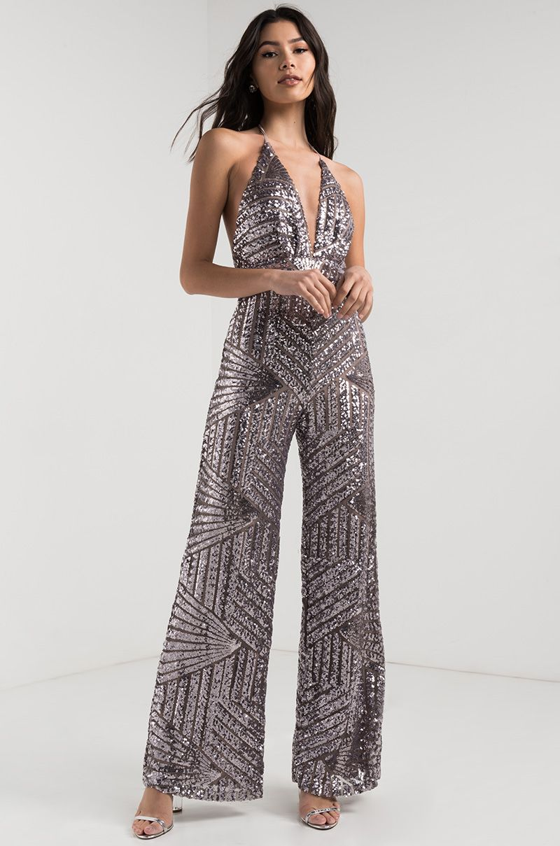 cca2177642 AKIRA Plunging Halter Neck Wide Leg Sequin Backless Jumpsuit in Pewter