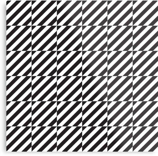 Black And White Diagonal Lines Op Art Pattern Metal Print By Kallyfactory Pattern Art Op Art Patterns Canvas