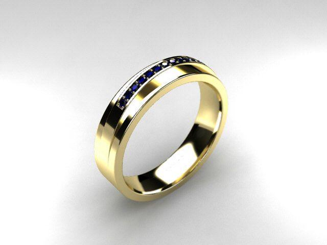 Blue Sapphire Ring Yellow Gold Men S Wedding Band Commitment Ring Men Sapphire Ring Gold Mens Yellow Gold Wedding Bands Blue Sapphire Rings Rings For Men