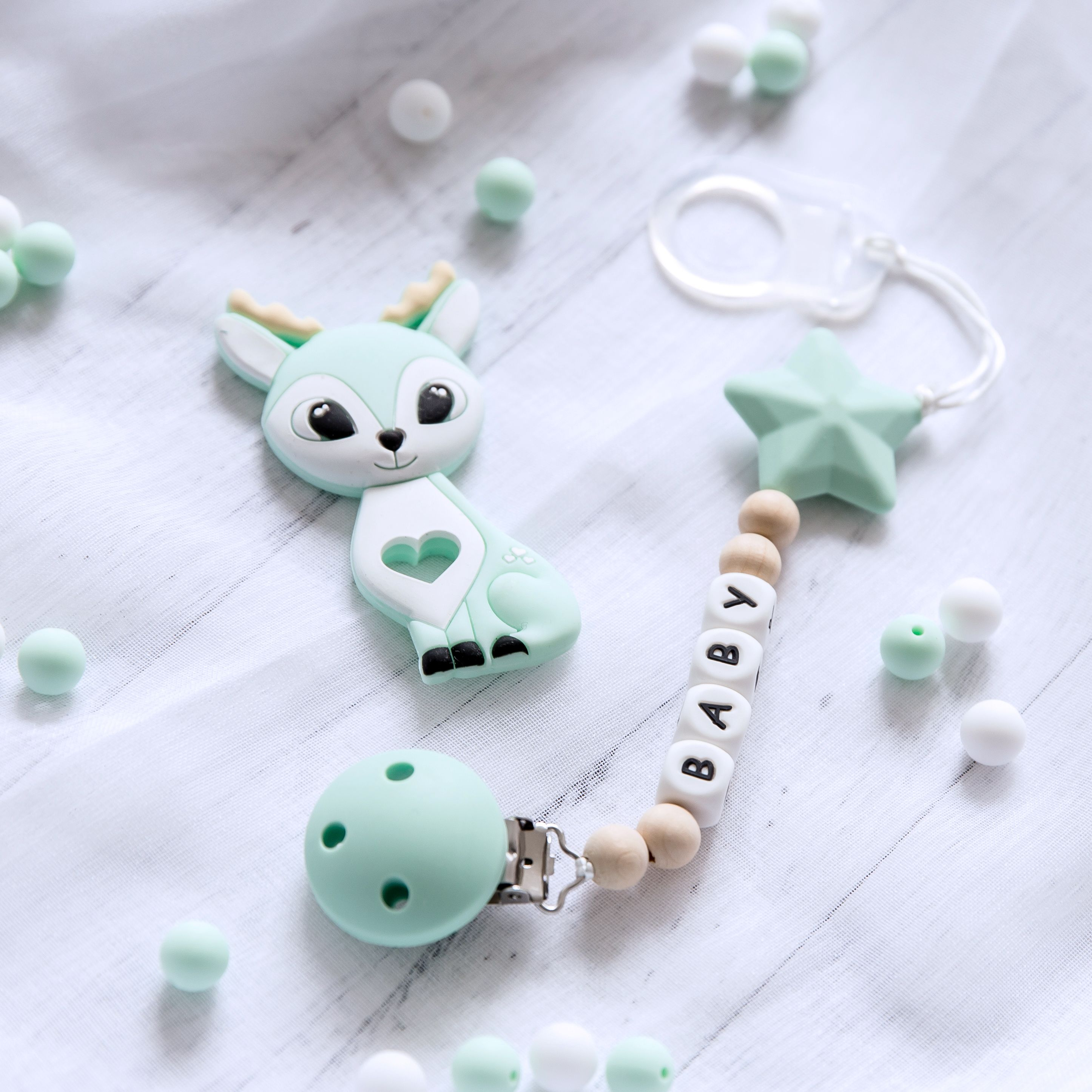 DIY 1X Baby Pacifier clip Food grade Silicone Beads letter  Pacifier chain Toys