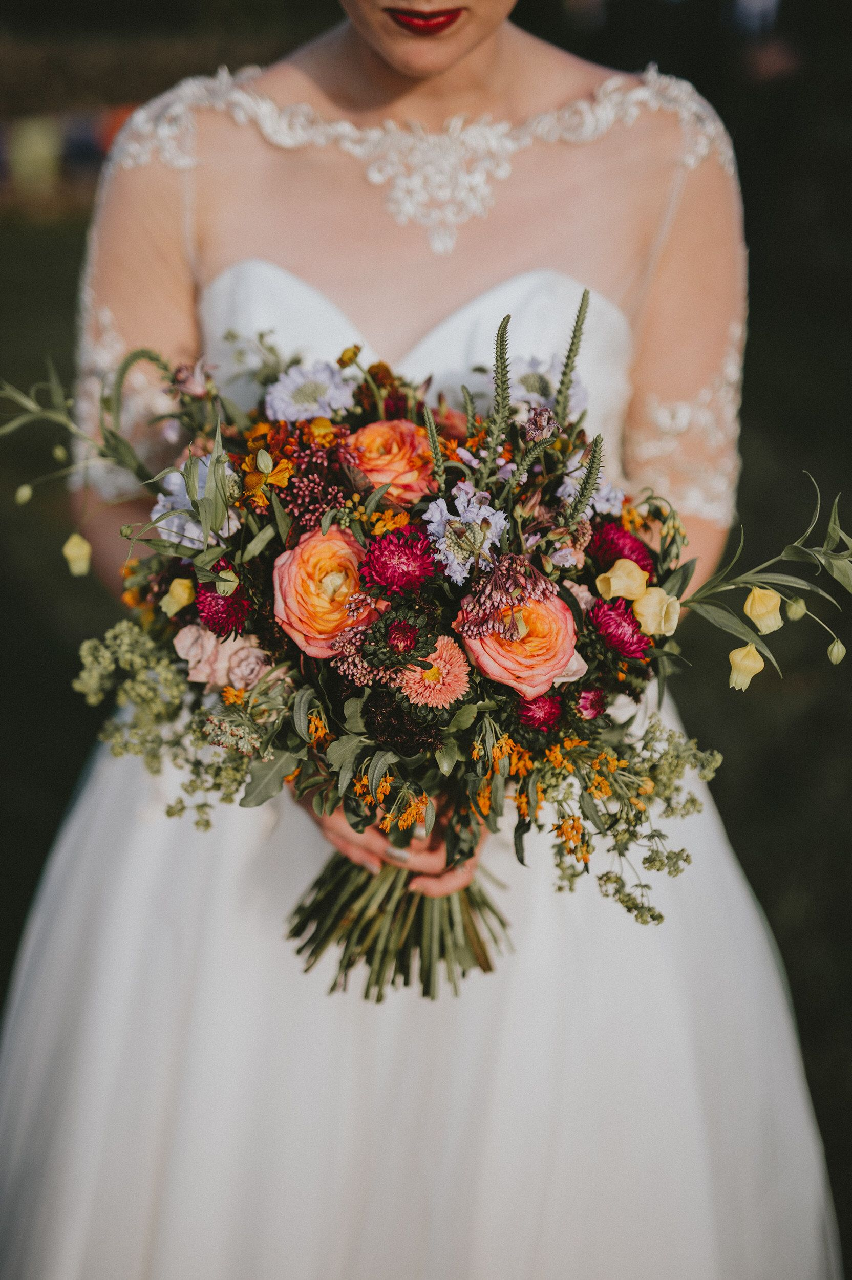 Roses and wild flowers for an end of summer/early autumn