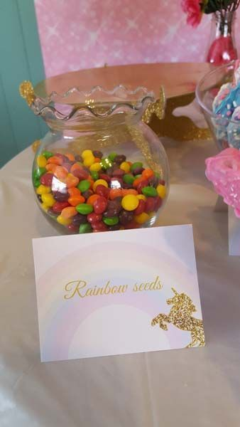 Unicorn food tents with rainbows and gold unicorns - Unicorn birthday party decorations, Unicorn themed birthday party, Rainbow birthday party, Unicorn birthday parties, Unicorn party food, Birthday party food - Unicorn food tents are white with a rainbow and golden unicorn on them  You can also use them for place cards at birthday parties, baby showers & weddings